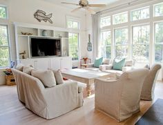 House of Turquoise: WaterColor Beach Home - looks like shabby chic slipcovers Coastal Living Rooms, Cottage Living, Home Living Room, Living Spaces, Shabby Chic Slipcovers, Beach Watercolor, Watercolor Florida, Furniture Layout, Furniture Arrangement