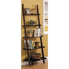 Walnut 5-tier Leaning Ladder Book Shelf by eHomeProducts. $70.50. Solid wood in walnut brown finish. Shelf features five tiers. Great for Home or Office. Beadboard style shelves. Stay organized and display your treasures in style with a chic shelf. Inventive design of a ladder-style shelf updates your home decor. Shelf features five tiers in walnut brown finish.     Measures 72 inches high x 25 inches wide x 17 inches deep   Assembly Required. Save 65% Off!