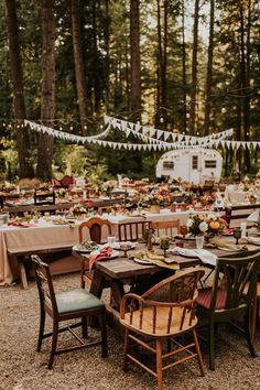 This Loloma Lodge Wedding is Backyard Celebration Goals Camp-inspired outdoor wedding reception with mismatched chairs bunting Camp Wedding, Outdoor Wedding Reception, Lodge Wedding, Wedding Chairs, Forest Wedding, Rustic Wedding, Dream Wedding, Backyard Wedding Receptions, Casual Wedding Decor