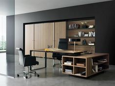 Office & Workspace  Wooden  Desk  And  Bookcase  In  Modern  Workspace  With  Black  Chair  And  Table  Lamp Inspirations for Making Modern ...