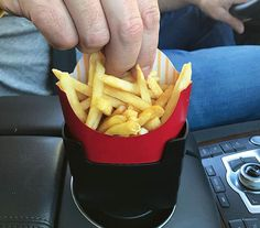 Munching on your deep fried potato sticks while you're driving just got a whole lot easier with this car french fry holder. This multi-functional car accessory will fit perfectly in your car's cup holder so that you can easily snack without making a mess. Pizza Pouch, Deep Cleaning Lists, Deep Fried Potatoes, Best Inventions Ever, Potato Sticks, Fun Drinking Games, Poke Cake Recipes, Gadget Gifts, French Fries