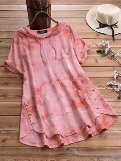 Gracila Side Button Tie-dyed Hooded Casual Blouse For Women look not only special, but also they always show ladies' glamour perfectly and bring surprise. Kurta Designs Women, Blouse Designs, Teen Fashion Outfits, Trendy Outfits, Fashion Hub, Fall Fashion, Frock Fashion, Stylish Dresses For Girls, Kurti Designs Party Wear