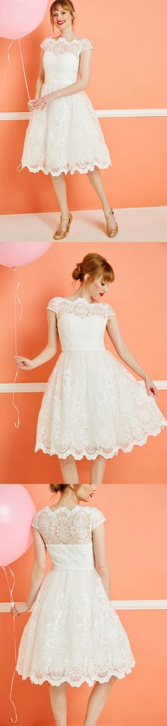 vintage cap sleeves lace knee length ivory bridesmaid dress