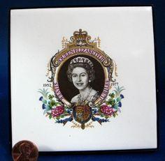 Queen Elizabeth II Tile Silver Jubilee 1977 Plaque England Royal Memorabilia