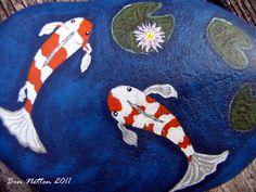 Hand Painted Koi Fish Pond on a Rock Acrylic Animal Pet Art Original Painting via Etsy