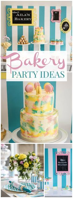 Loving this aqua, yellow and pink bakery birthday party! See more party ideas at http://CatchMyParty.com!
