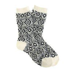 Fair Isle trouser socks white/navy | J. Crew