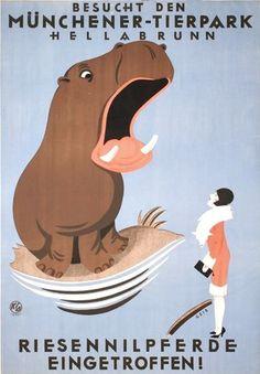 Vintage Poster - Munich Zoo (1930) Artist : Joseph Nikolaus Geis (1892 - 1952)