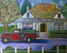 """Dreamy Red Truck- 20x16"""" by SG Criswell (sold to UU for DA)"""