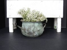 Vintage green copper oxidized planter shabby by justynamrugala, $23.00
