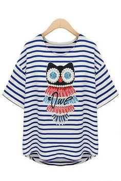 Cross Striped Beaded Owl Pirnt Tee OASAP.com #ROMWE