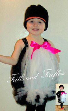 Penguin Tutu Costume with Hot Pink Bow and Penguin Hat.. Great Halloween Costume, Photo Prop, Dress up or Gift