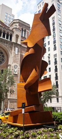 Albert Paley Tilted Column weathering steel 20' x 9' x 8'