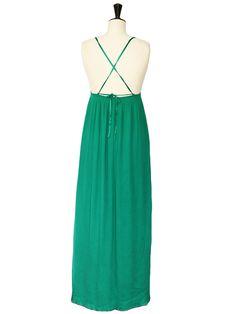 Robe longue LES PETITES en mousseline de soie vert émeraude Px boutique 350€ Taille 36