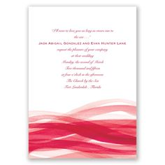 Your hearts and lives are fully entwined, just like the gorgeous waves of apple red color on this contemporary two-sided wedding invitation.   Product Details:    Invitation Size: 5 1/2' x 7 3/4'   Card Type:   Flat non-folding   Prints In: Flat, Digital Ink  Ink Color: Choose from a variety of ink options including David's Bridal exclusive colors  Choice of fonts and verses Optional Envelope Liners  Price Includes: Invitation, Unlined Inner Envelope, Blank Outer Envelop...