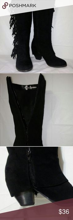 """Fergalicious Black Suede Fringe Zip Up Boots 7.5 M Fergalicious By Fergie Womens Black Suede Fringe Zip Up Cowboy Boots Size 7.5 M  These boots were made for walkin! They are gently used, and sure to attract attention. Size: 7.5 M- very comfortable - 2"""" heel height - 14"""" from ankle to knee  These boots were made for walkin! They are gently used, and sure to attract attention. Size: 8.5 - very comfortable - 2"""" heel height - 14"""" from ankle to knee. Fergalicious Shoes Heeled Boots"""
