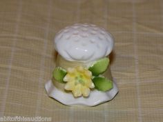 Vintage Enesco Porcelain Ceramic Thimble Hat with Flower Band | eBay
