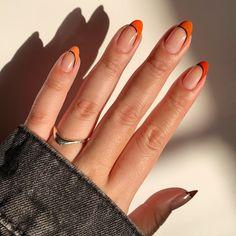 Halloween Nail Colors, Holloween Nails, Halloween Acrylic Nails, Cute Halloween Nails, Halloween Nail Designs, Best Acrylic Nails, Orange Nail Art, Orange Nail Designs, Nail Tip Designs