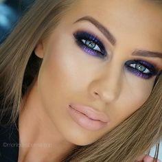 Pretty smokey eye makeup with purple liner. Love My Makeup, Sexy Makeup, Blue Makeup, Gorgeous Makeup, Hair Makeup, Purple Smokey Eye, Smokey Eye Makeup, Summer Makeup Looks, Festival Makeup