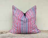 """Vintage Cotton Tribal Hand Print Patch Work Pillow Case 26"""" x 26"""" Pieces Of Retro Tribal Costume"""