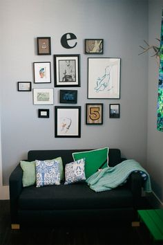 Gray + Green in a living room
