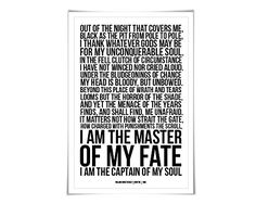 Invictus William Ernest Henley Art Print. 60 Colours/3 Sizes. Poetry Poster. Inspirational. Graduation >>> Continue to the product at the image link.