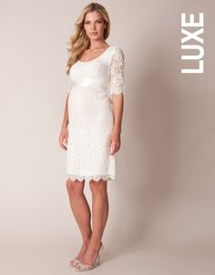 This stunning lace maternity bridal dress in pristine ivory ticks all the boxes for your perfect day. Embrace this season's lust for lace with this beautiful piece. Carefully crafted in luxe French lace, this is a dress worthy of the catwalk. The contemporary floral lace features added stretch for the perfect fit. Tie the detachable sash at your em...