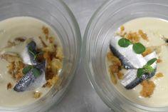 Crema de berenjena ahumada y sardinas