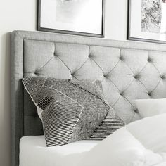 Felicienne Upholstered Panel Headboard with Diamond Tufting Gray Upholstered Headboard, Modern Headboard, Full Headboard, Headboard Designs, Queen Headboard, Panel Headboard, Headboard Ideas, Wall Mounted Headboards, Headboards For Beds