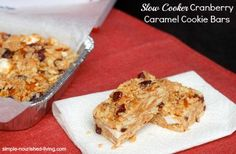 Slow Cooker Cookie Bars with caramel, cranberries, white chocolate and nuts, easy, sweet and delicious #WeightWatchers #CrockPot