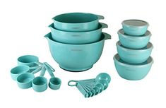 This Farberware Mix & Measure Aqua Sky Professional Baking Set includes 23 pieces: 3 mixing bowls, 4 prep bowls with lids, set of 5 measuring cups, and a set of 7 measuring spoons. All pieces a… Aqua Kitchen, Turquoise Kitchen, House Of Turquoise, Kitchen Dining, Kitchen Decor, Kitchen Items, Kitchen Utensils, Kitchen Gadgets, Oval Room Blue