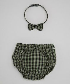 This Green Plaid Bow Tie & Diaper Cover - Infant by Caught Ya Lookin' is perfect! #zulilyfinds
