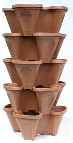 Amazon.com : LARGE Vertical Gardening Stackable Planters by Mr. Stacky - Grow More Using Limited Space And Minimum Effort - Plant. Stack. Enjoy. - Build Your Own Backyard Vertical Garden - DIY Stacking Container System - For Growing Strawberry, Tomato, Pepper, Cucumber, Herbs, Lettuce, Greens, & Much More - Indoor or Outdoor - Stackable Pots (5) : Patio, Lawn & Garden