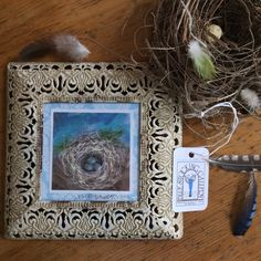 Bird Nest Painting/Free Shipping/Shabby Chic/Rustic/7x7 inches/Cottage Look/Blue…