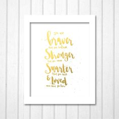 Braver Stronger Smarter Loved, Printable Disney Winnie The Pooh Quote Gold Black | Modern Wall Art Kids Boys Girls Bedroom Playroom Nursery by TheDancingFingers on Etsy