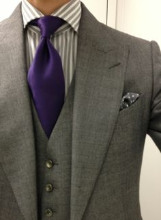 grey suit purple tie