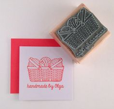 Personalized Yarn Basket Rubber Stamp by cupcaketree on Etsy