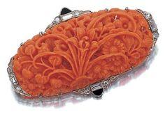 Art deco coral brooch, circa 1920
