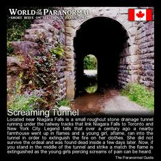 Screaming Tunnel - (Other versions state the girl was killed and burned by her father in the tunnel after losing custody of her in a divorce battle or that she was raped, killed and set afire in attempts to hide the evidence. Creepy Stories, Ghost Stories, Horror Stories, Most Haunted, Haunted Places, Haunted Houses, Creepy Facts, Creepy Things, Scary Stuff