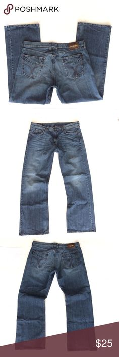 """Lucky brand Santa Fe Bootcut jeans size 36 Lucky brand Santa Fe Bootcut jeans. Men's size 36. Excellent preworn condition. Factory distressed at top of pockets and hem. 100% cotton. Actual measurements are:  Waist 37"""" Inseam 32"""" Rise 12""""  Thanks Lucky Brand Jeans Bootcut"""