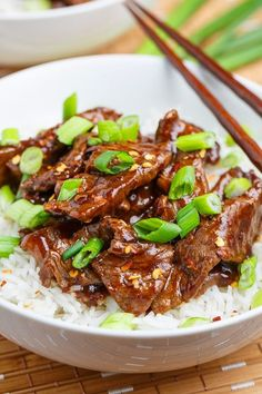 20 Minute Light Mongolian Beef. Serve with rice