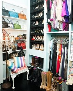 Lori Levine - Turquoise closet design with turquoise blue walls as well as builtin shelving housing designer bags and designer shoes and boots. Tiny Closet, Dream Closets, Master Closet, Closet Bedroom, Closet Space, Huge Closet, Walk In Wardrobe, Walk In Closet, Dressing Room Closet
