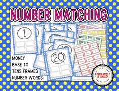 Free Math Center printables  Match number, number word, base ten, 10s frame and money.  numbers 1 to 20
