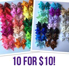 Hair accessories for little girls, cheap bows, hair bows, girl bows, You pick 10 1.00 each cheer hair bows girls hair by BowsforLittle