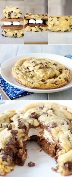 S'mores Stuffed Chocolate Chip Cookies.