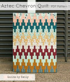 *****Buy 2 or more patterns get $3 off with coupon code 2PATTERNS (enter code when checking out)  With a bold geometric chevron design this quilt