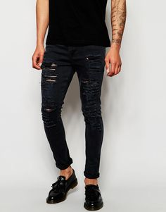 ASOS Super Skinny Jeans With Extreme Rips