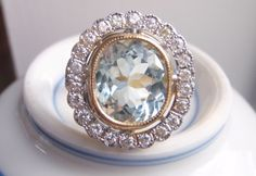 Statement Piece. Stunning Big Pastel Blue Aquamarine and 22 Brilliant Cut Genuine Diamonds. Spectacular Engagement or Cocktail Ring.. $3,400.00, via Etsy.