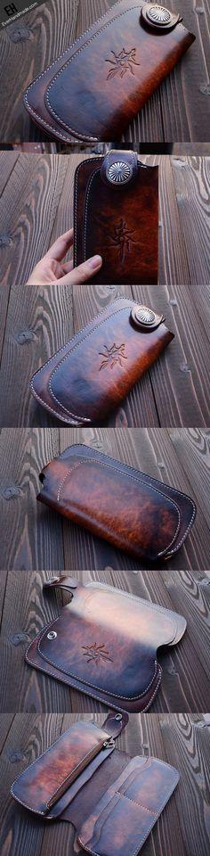 Handmade vintage dark brown leather biker wallet bifold long wallet pu | EverHandmade