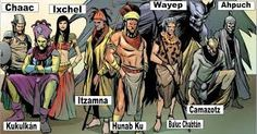 Mayan Gods and Goddesses - a modern rendering from Marvel story arc about the pantheons of gods around the world at war World Mythology, African Mythology, Comic Book Superheroes, Anthropologie, Mythological Creatures, Gods And Goddesses, Conte, Deities, Fairy Tales